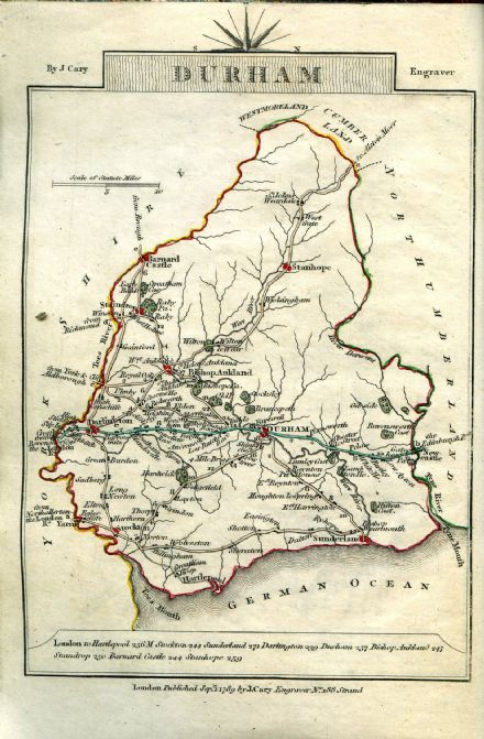 Durham County Map by John Cary 1790 - Reproduction